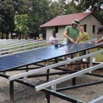 Building solar array in South Sudan
