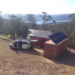 Off-grid solar system installed on shipping containers